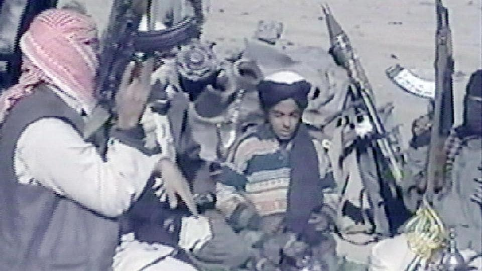 This November 7, 2001 photo, taken from Al-Jazeera channel, shows Hamza, a son of Osama bin Laden.