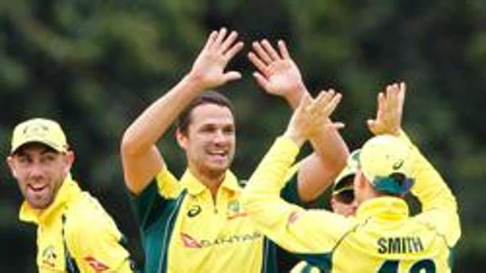 Nathan Coulter-Nile (second from left) made an encouraging return in Australia's ODI series opener against India in Chennai, tearing through the hosts' formidable top order to grab 3/44.