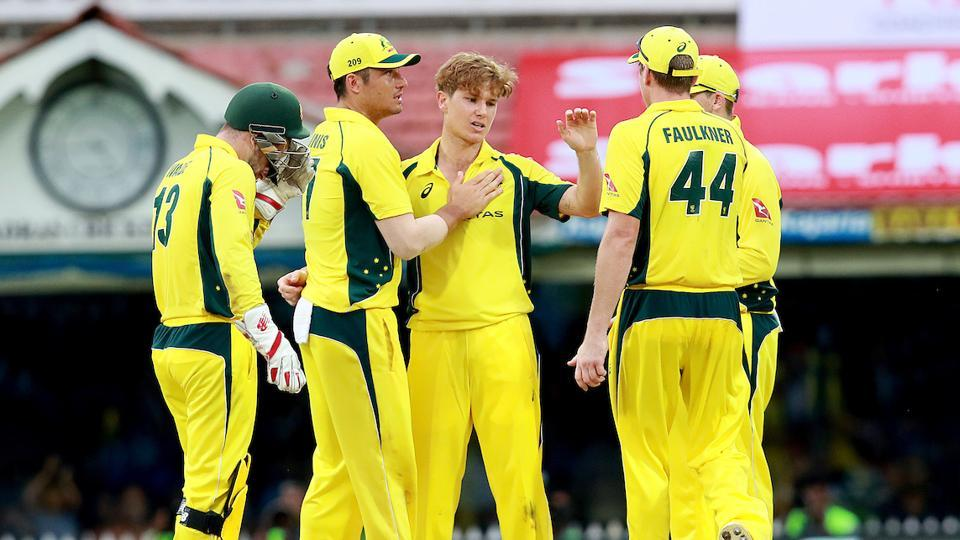 Adam Zampa (third from left) picked up just one wicket in the India vs Australia first ODI in Chennai, which the visitors lost by 26 runs (D/L Method).