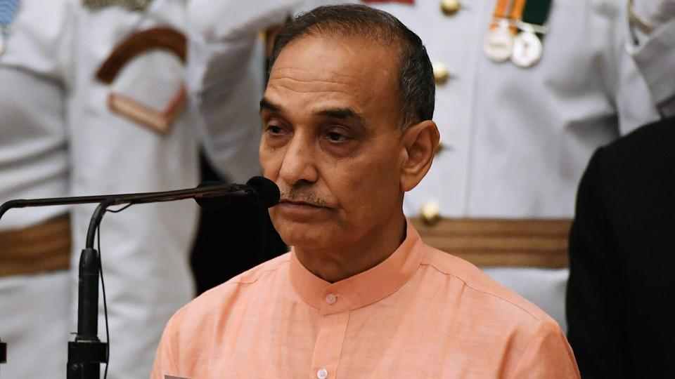 Satyapal Singh takes oath during the swearing-in ceremony of new ministers at the Rashtrapati Bhavan in New Delhi on September 3, 2017.