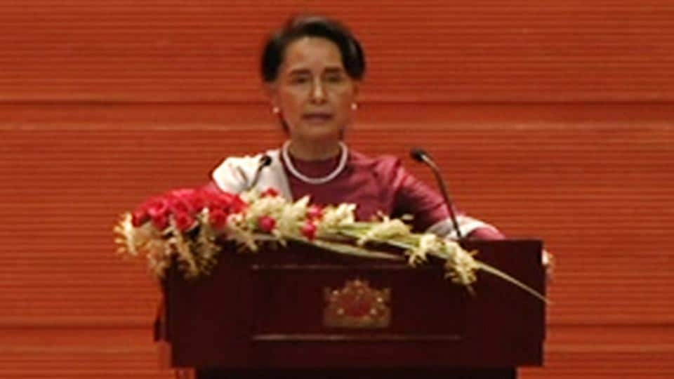 Myanmar leader Aung San Suu Kyi delivers a national address regarding the Rohingya crisis in Naypyitaw, Myanmar September 19, 2017 in this still image taken from video.