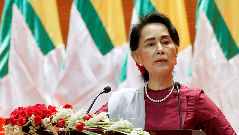 Myanmar State Counsellor Aung San Suu Kyi delivers a speech to the nation over Rakhine and Rohingya situation, in Naypyitaw, on Tuesday.
