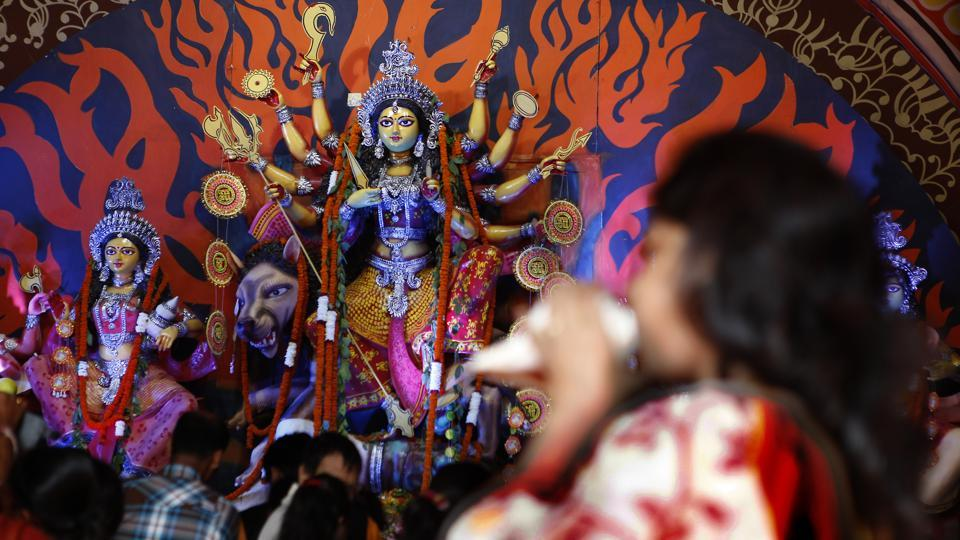A glimpse of how the Durga Puja is celebrated in the Capital.