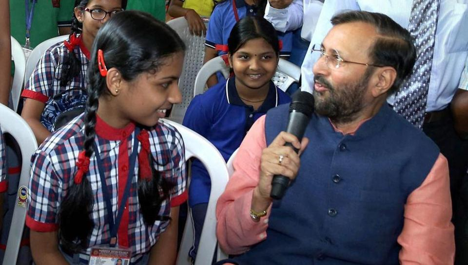 Union HRD Minister Prakash Javadekar interacts with students.