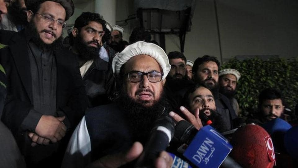 File photo of Hafiz Saeed, founder of the banned Lashkar-e-Taiba, speaking to the media shortly before he was placed under house arrest in Lahore, Pakistan, on January 30, 2017.