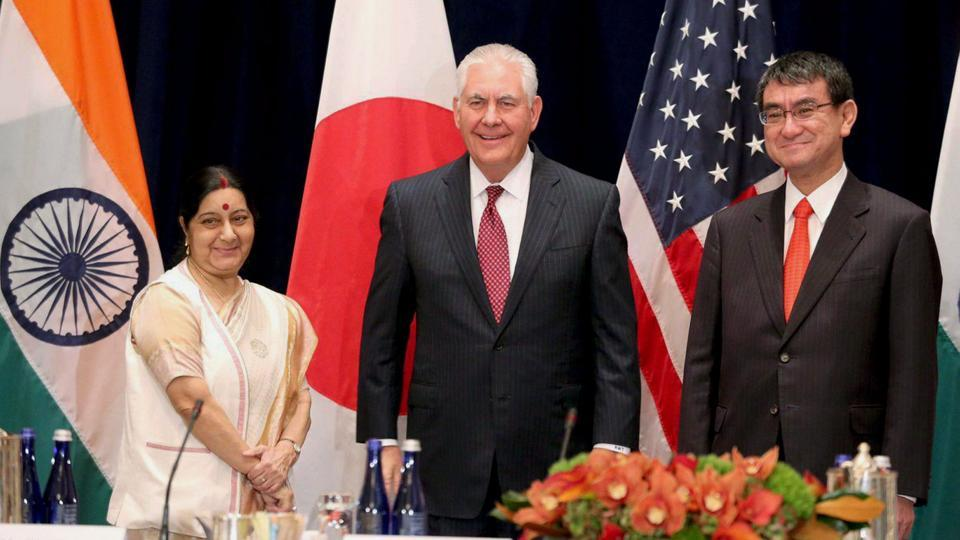US Secretary of State Rex Tillerson (centre) with external affairs minister Sushma Swaraj and and Japanese foreign minister Taro Kono in New York on Monday.