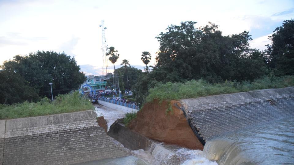 Nearly 20 feet of the wall of the main canal of the Bateswar Ganga Pump Nahar Yojana (BGPNY) breached during a trial on Tuesday.