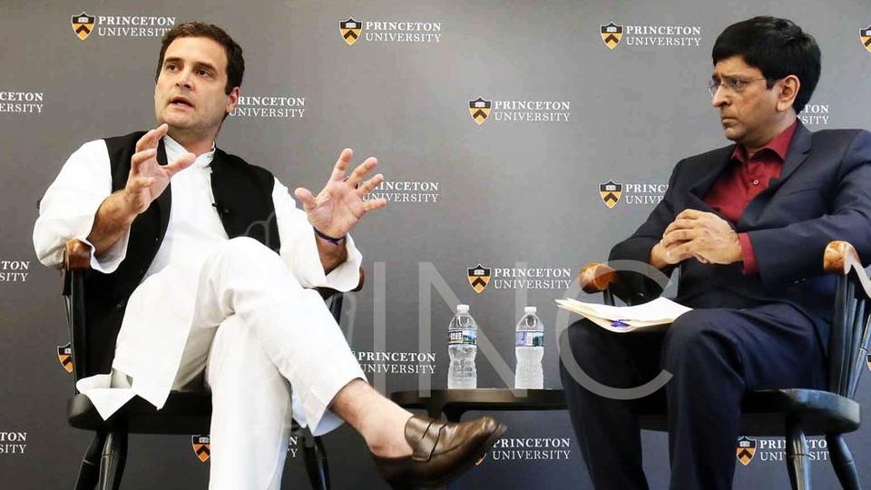 Image result for Rahul Gandhi at Princeton University: India has to compete with China,