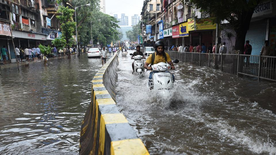 Water logging in Parel on Wednesday morning.