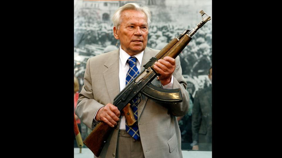 Kalashnikov was born into a Siberian peasant family in 1919.Wounded in the 1941 battle of Bryansk, while spending several months recovering in a hospital, he heard other soldiers complaining about how the Red Army's rifles were inferior to those wielded by the Nazis, and began work on designs of his own. The gun's name commemorates the designer and the year — Avtomat Kalashnikova (19)47. (Misha Japaridze / AP PHOTO)