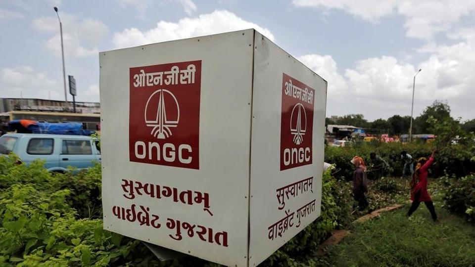 The logo of Oil and Natural Gas Corp's (ONGC) is pictured along a roadside in Ahmedabad.