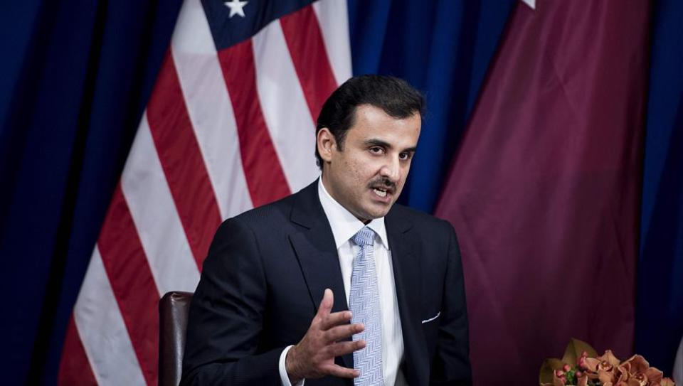 Qatar's Emir Tamim bin Hamad al-Thani makes a statement to the press before a meeting with US President Donald Trump  in New York City, on the sidelines of the UN General Assembly.
