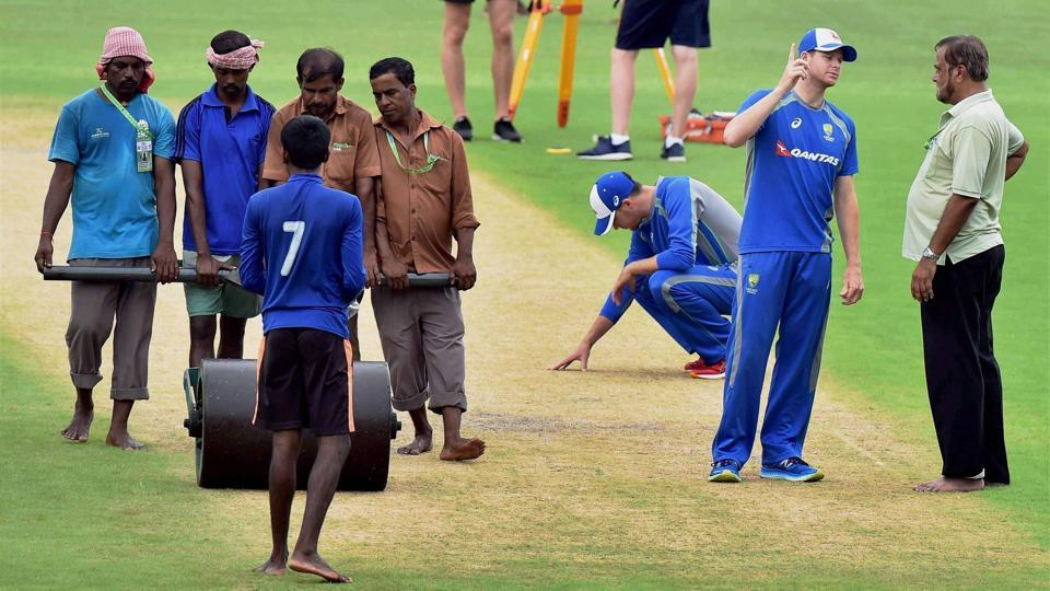 Australia captain Steve Smith has a word with the ground staff as the team practised indoors.  (PTI)