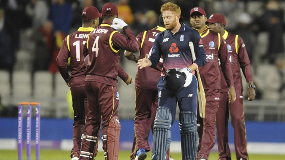 England's Johnny Bairstow shakes hands with West Indies players after England beat the West Indies by seven wickets in the first One Day International at Old Trafford in Manchester on Tuesday.