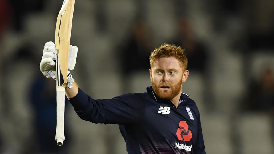 Jonny Bairstow's maiden ODI century guided England to a seven-wicket win over West Indies in the rain-hit first ODI at Old Trafford.