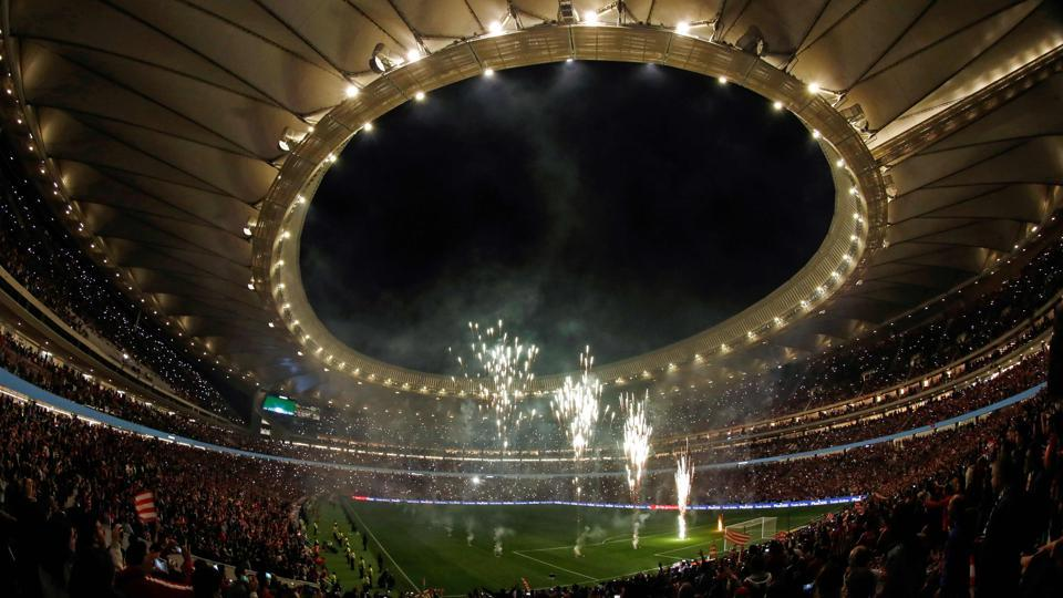 Fireworks light up the sky during the inauguration of the Wanda Metropolitano stadium after the Spanish league football match Club Atletico de Madrid vs Malaga CF in Madrid on September 16, 2017. UEFA announced on Wednesday that the stadium will host the 2019 Champions League final.
