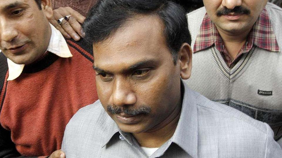 Former Telecom Minister A Raja, accused in the 2G spectrum scam, is currently out on bail.