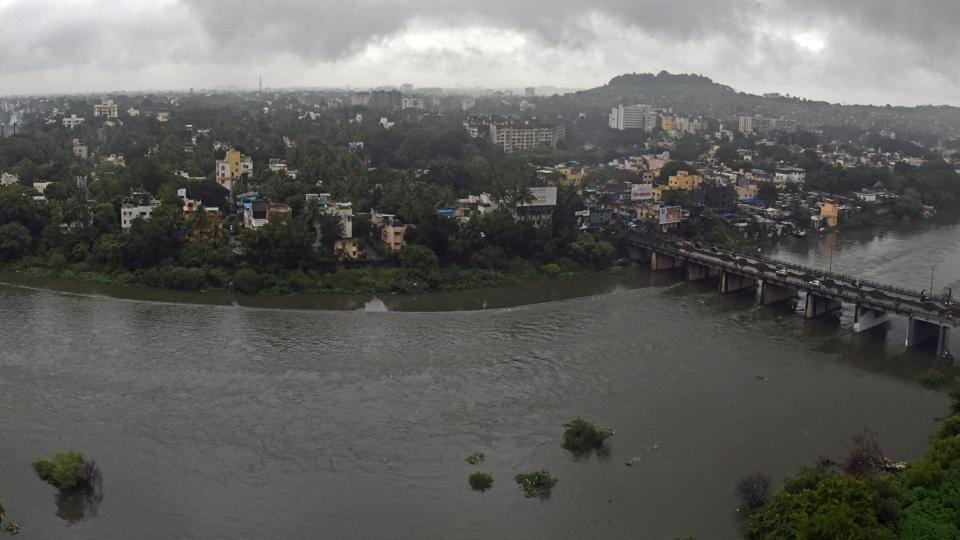 A view of the Mutha river. Pune received 42 mm rainfall from Tuesday 5pm till Wednesday 5 pm.