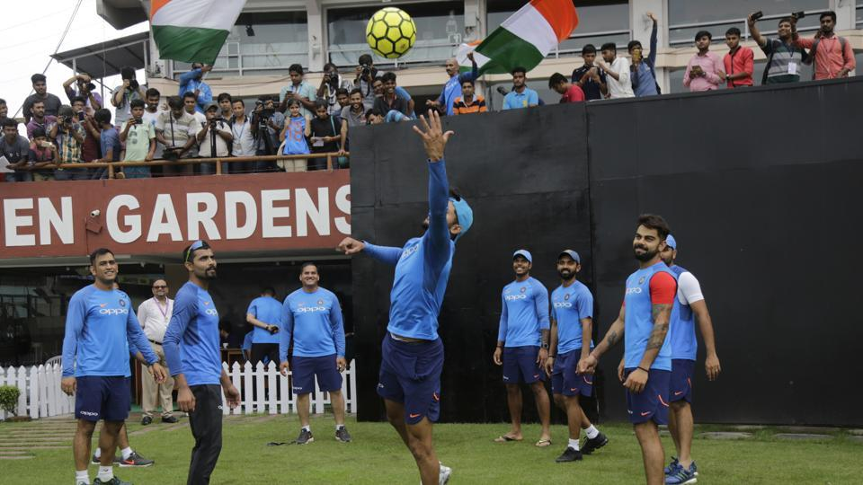 The Indian cricket team decided to make use of the limited facilities and they had a short practice session. (AP)