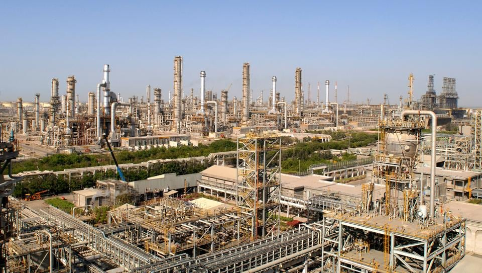 This undated handout picture from India's Reliance Industries shows a general view of a refinery at Jamnagar, some 400kms west of Ahmedabad.