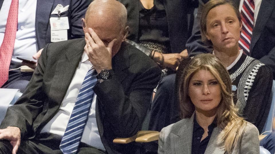 White House chief of staff John Kelly reacts as he and first lady Melania Trump listen to US President Donald Trump speak during the 72nd session of the United Nations General Assembly at UN headquarters.