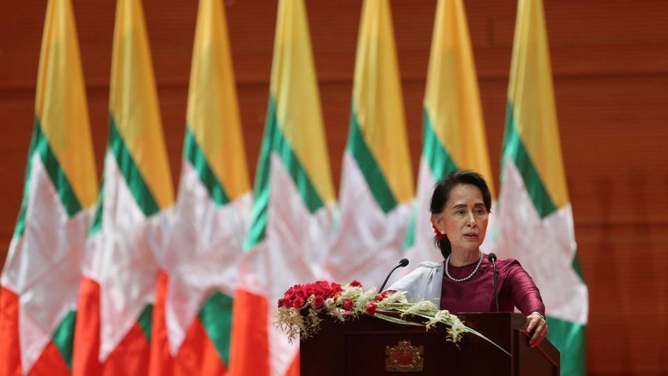 Myanmar's State Counsellor Aung San Suu Kyi delivers a national address in Naypyidaw on September 19.