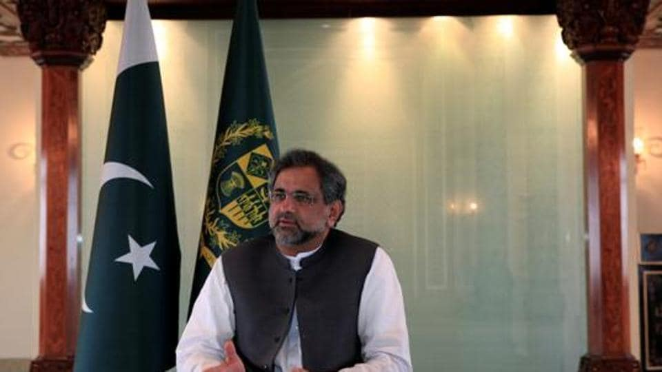 Pakistan's Prime Minister Shahid Khaqan Abbasi speaks with a Reuters correspondent during an interview at his office in Islamabad, Pakistan September 11, 2017.