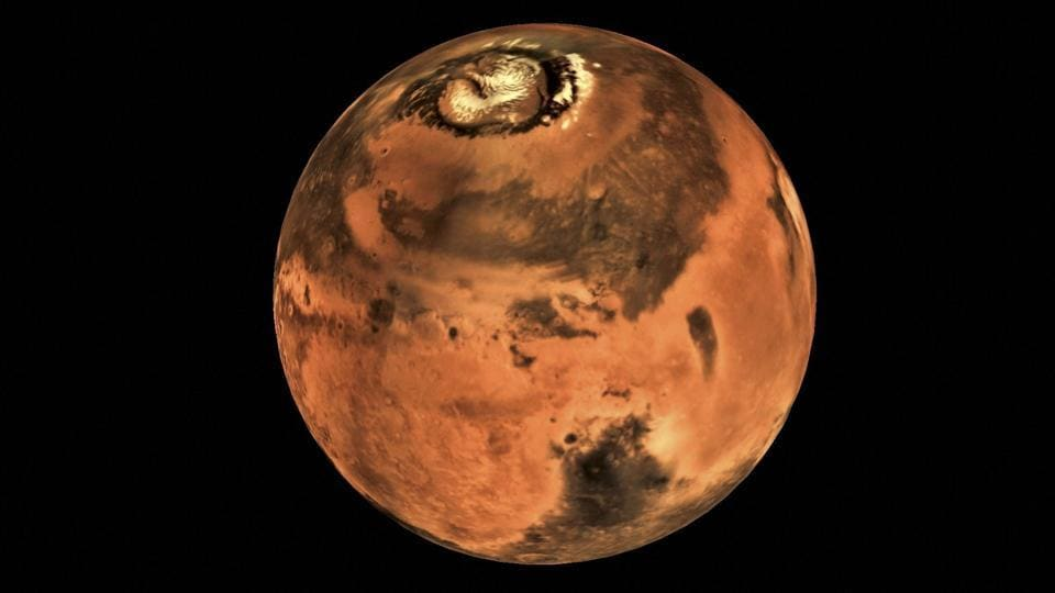 A picture of the planet Mars taken by Mars Colour Camera (MCC) onboard India's Mars Orbiter Spacecraft.