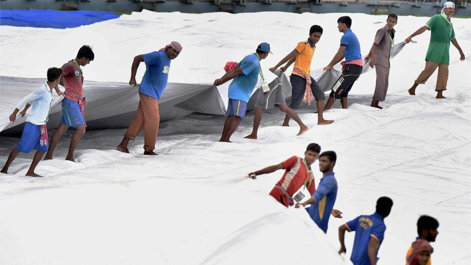 Rain continued to play hide and seek and it was a frustrating day for the ground staff. (PTI)