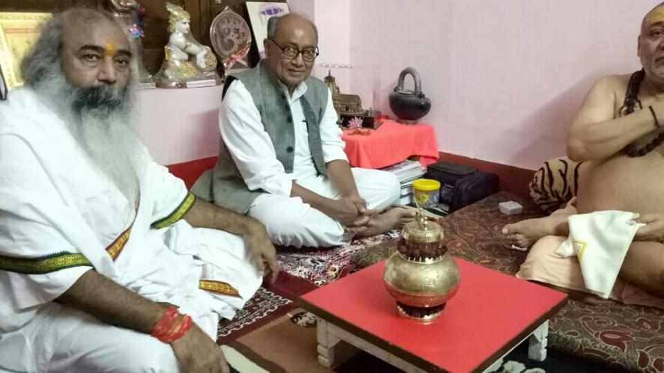 Congress general secretary Digvijay Singh with Jagadguru Shankaracharya Raj Rajeshwaram Maharaj in Haridwar on Wednesday.