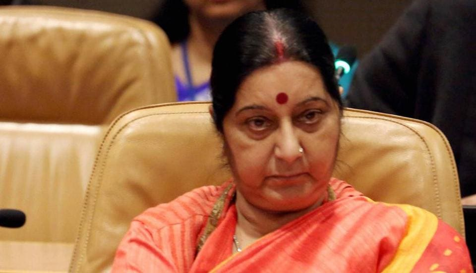 External affairs minister Sushma Swaraj attends NAM meeting on Palestine in UN in New York on Tuesday.