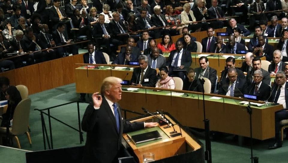 U.S. President Donald Trump addresses the 72nd United Nations General Assembly at U.N. headquarters in New York.