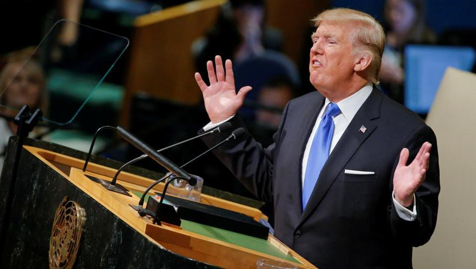 US President Donald Trump addresses the 72nd United Nations General Assembly at UN headquarters in New York on September 19.