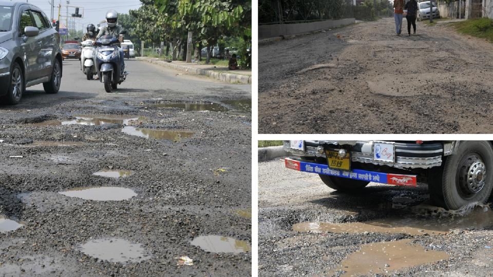 HT  highlighted how important stretches across Panchkula are riddled with potholes.