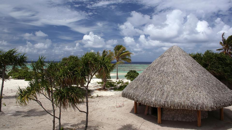 A partial view of the Brando, an eco-friendly resort, on the private island of Tetiaroa.