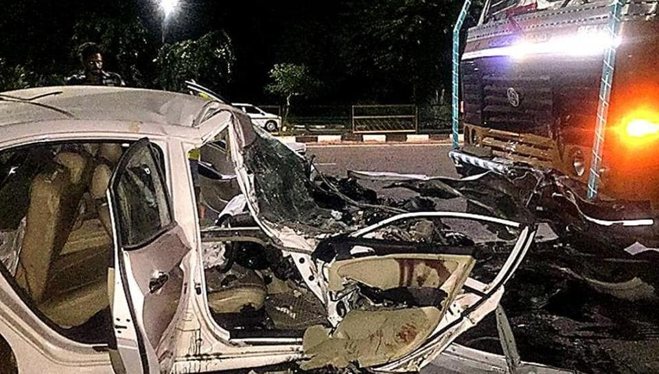 The badly damaged Hyundai Verna, which was being driven by Puneet Sabarwal, after it rammed into a truck near the Sohana gurdwara in Mohali on Tuesday night.