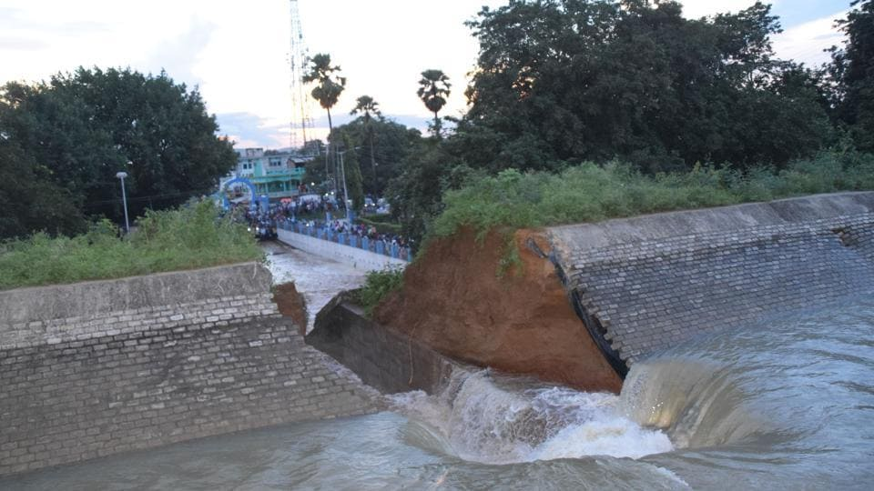 A portion of the irrigation canal had caved in during trials ahead of its inauguration in Bihar's Bhagalpur district on Tuesday.