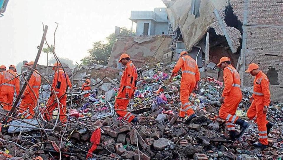 National Disaster Response Force (NDRF) personnel at the site in Sular-Gharat village in Sangrur on Wednesday.