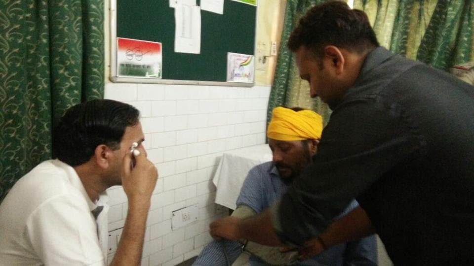 Doctors conducting medical examination of the commando who fired several rounds early Thursday on the outskirts of Pathankot.