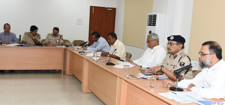 CM Nitish Kumar with officials at a law and order review meeting in Patna on Thursday.