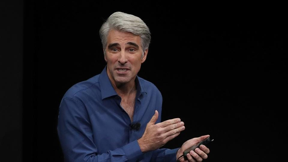 Apple's senior vice president of Software Engineering Craig Federighi speaks during an Apple special event at the Steve Jobs Theatre on the Apple Park campus . Justin Sullivan/Getty Images/AFP == FOR NEWSPAPERS, INTERNET, TELCOS & TELEVISION USE ONLY ==
