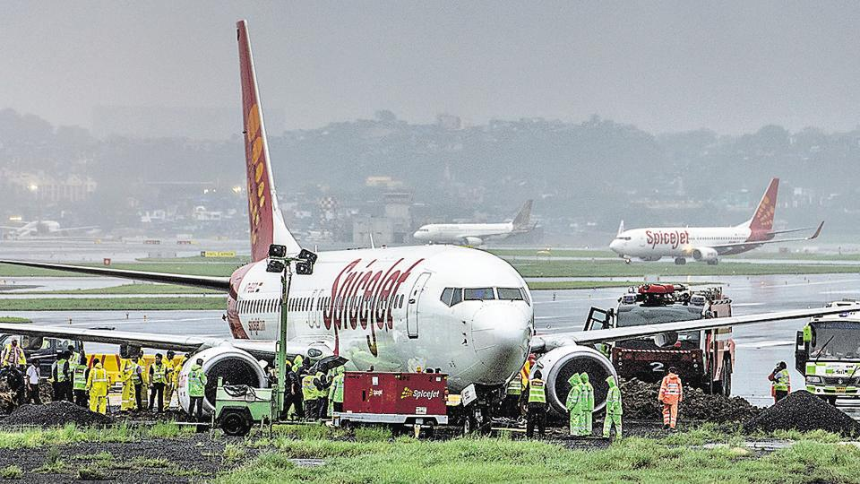 The SpiceJet aircraft, which overshot the main runway, was towed away late on Wednesday.