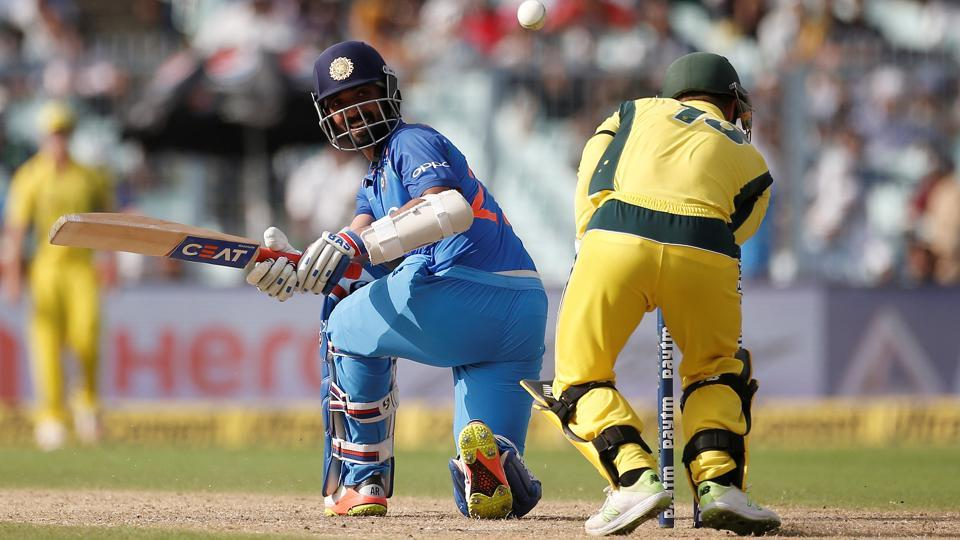 Ajinkya Rahane plays a shot during the second India vs Australia ODI in Kolkata.