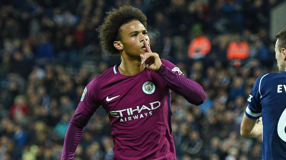 Manchester City's German midfielder Leroy Sane celebrates after scoring their second goal during the English League Cup third round football match against West Bromwich Albion at The Hawthorns in West Bromwich on Wednesday.