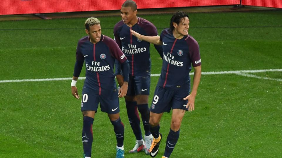 Neymar (left) and Edinson Cavani were involved in an on-field altercation during Paris Saint-Germain's Ligue 1 game against Lyon.
