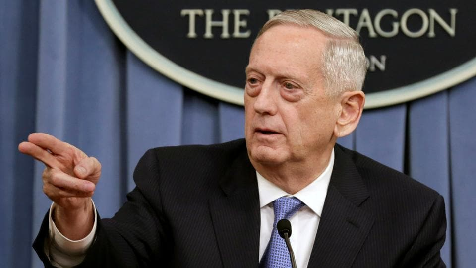 US Defence Secretary James Mattis gestures to the media at the Pentagon in Washington in April  2017