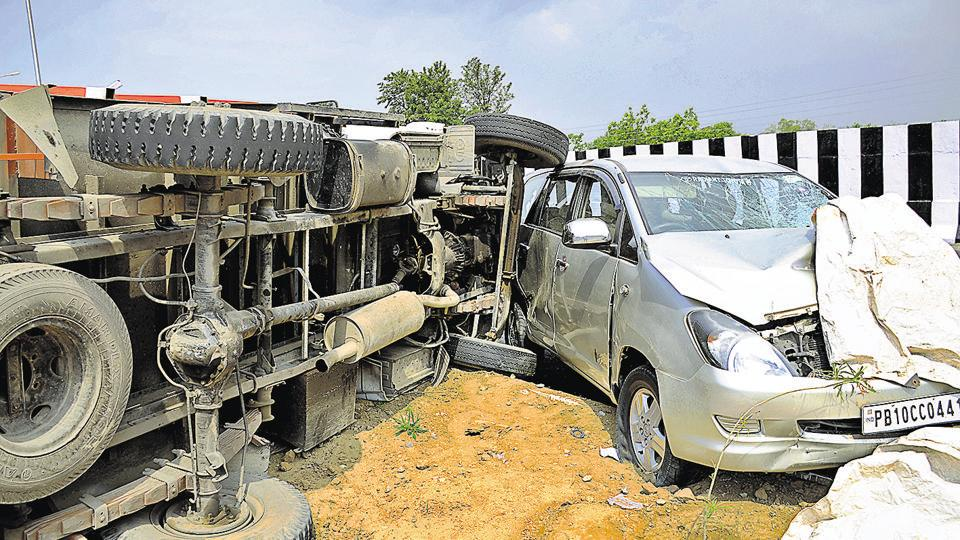 Vehicles involved in an accident at Baddowal on Ferozepur Road in Ludhiana.