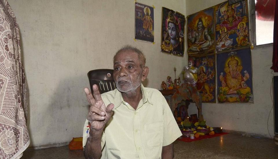 Pune, India - Sept. 21, 2017: Maruti Shivrale at his residence in Pune, India, on Thursday, September 21, 2017. (Photo by Ravindra Joshi/HT PHOTO)