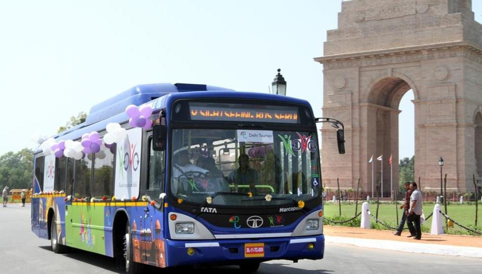 A Hop On Hop Off (HoHo) bus near India Gate in central Delhi.