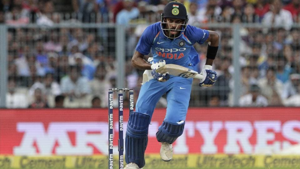 India's Hardik Pandya takes a run during the second one-day international cricket match against Australia at Eden Gardens in Kolkata, India, Thursday, Sept. 21, 2017.